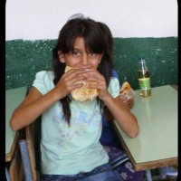 Bulgaria girl with lunch